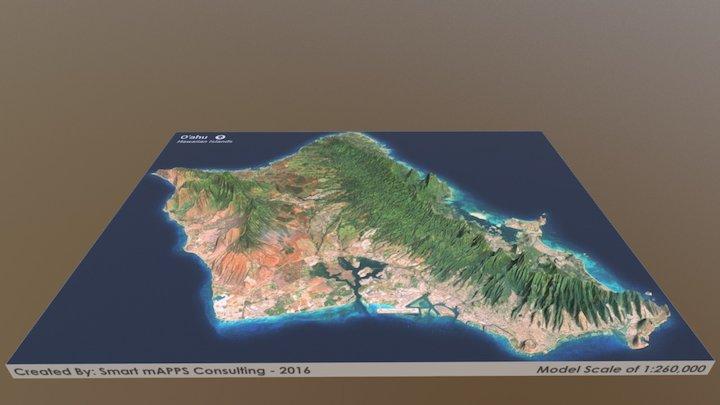 O'ahu, Hawaii Map 3D Model