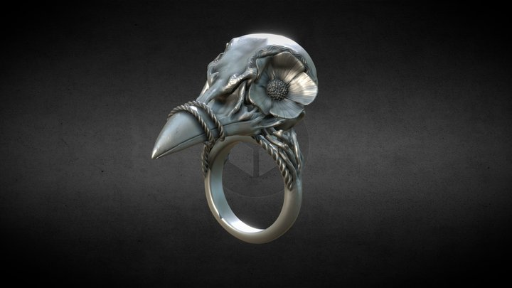 Bird Skull With Flower Ring for 3d printing 3D Model