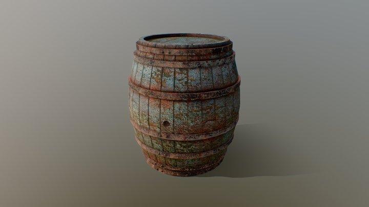 Battered Old Wooden Barrel 3D Model