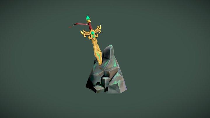 Fantasy Sword Scene 3D Model
