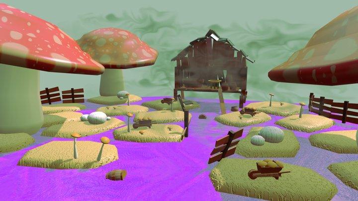 Cabin of mushrooms 3D Model