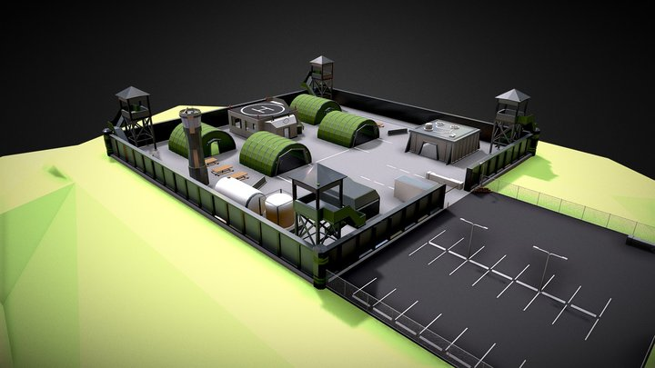 Military Base (Low Poly Style) 3D Model