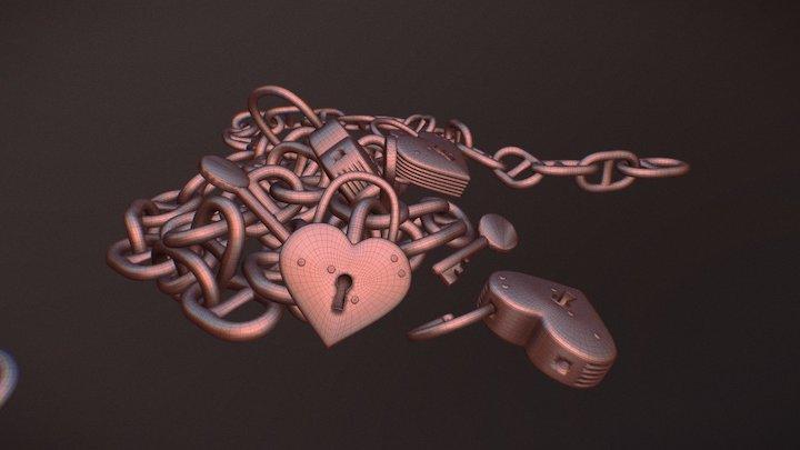 Heart Shaped Lock 3D Model