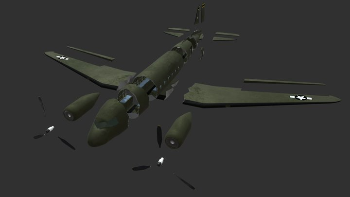 Transport Aircraft (Exploded) 3D Model