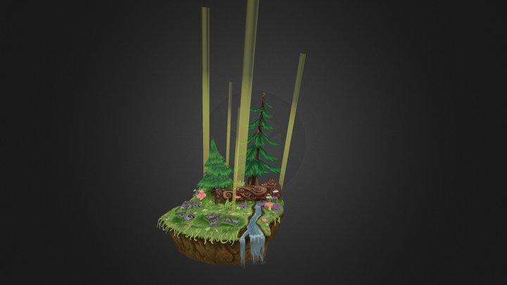 Handpainted Forest Scene 3D Model