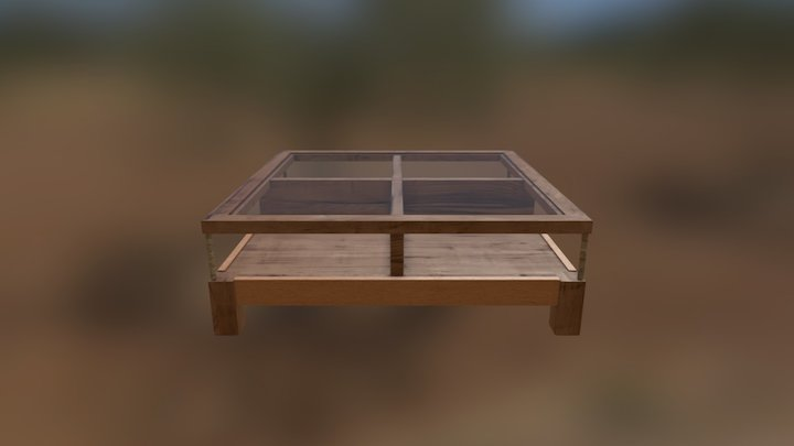Table Wood & Glass 3D Model