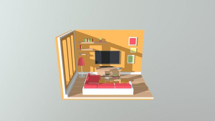 Living Room Orange 3D Model