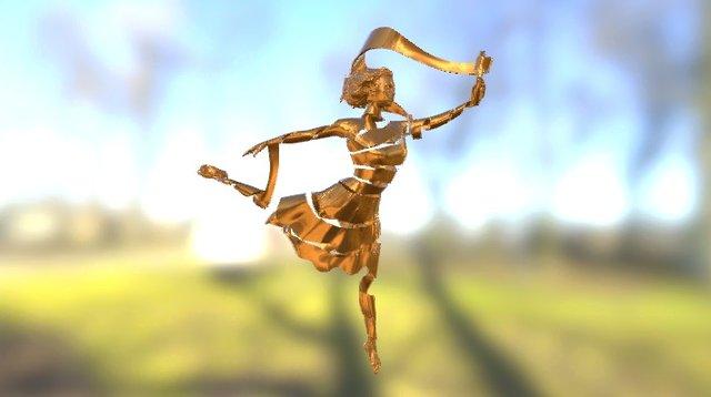Girl Flying a Ribbon 3D Model