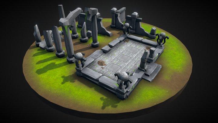 Lowpoly Toon Ruins 3D Model