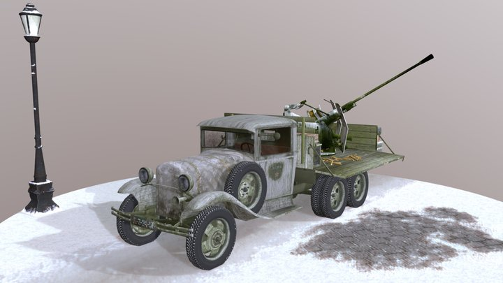 Truck Russian GAZ AAA with Anti Aircraft Gun 3D Model