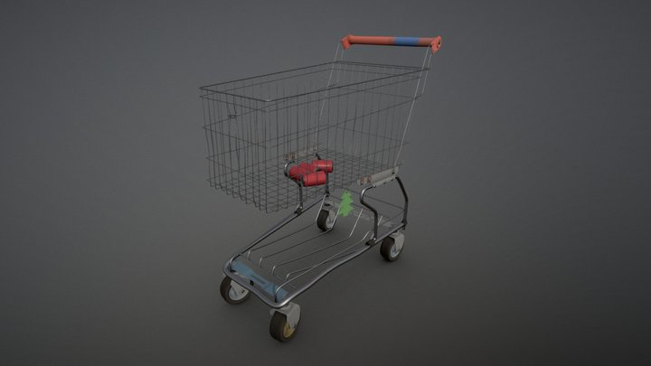 Supermarket Used Trolley 3D Model