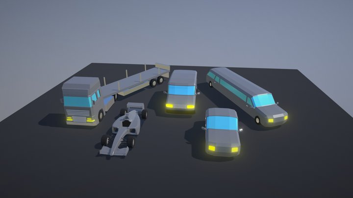 Simple Low Poly Cars Pack Free 3D Model