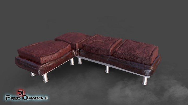 realistic leather sofa 3D Model