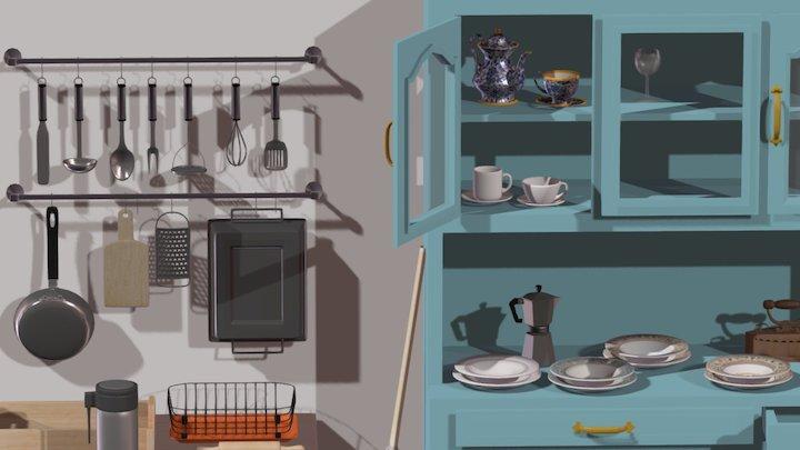 Two Dimensional Kitchen 3D Model