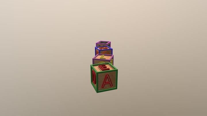 Letter Cubes Toys(Low Poly) 3D Model