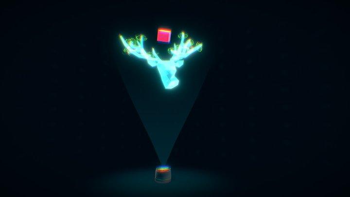 Sci-fi Deer hologram - [Short] 3D Model