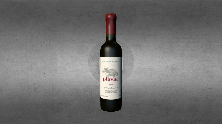 wine bottle plavac dingac 2010 3D Model