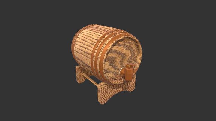 Barrel with Texture 3D Model