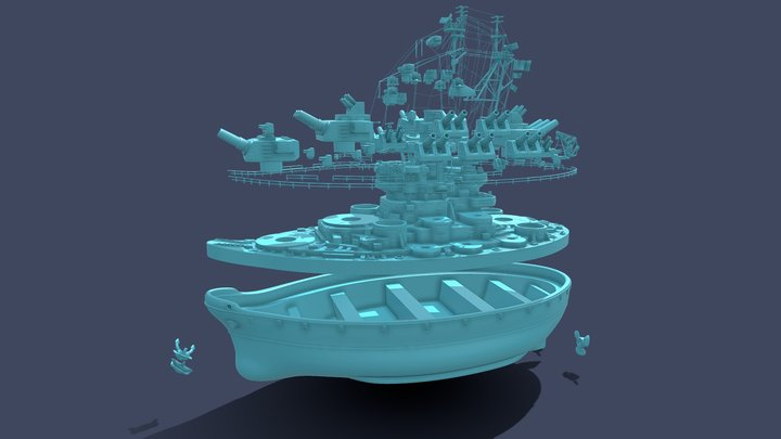 Missouri battleship (3d print) 3D Model