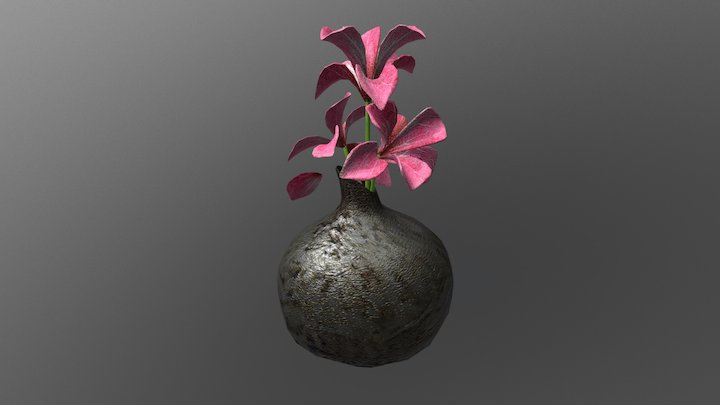 Vase and Flowers 3D Model