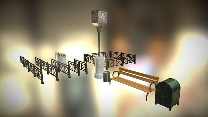 Retro Street Pack01 3D Model