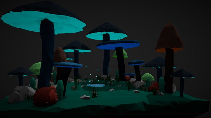 mushroom scene Lowpoly 3D Model