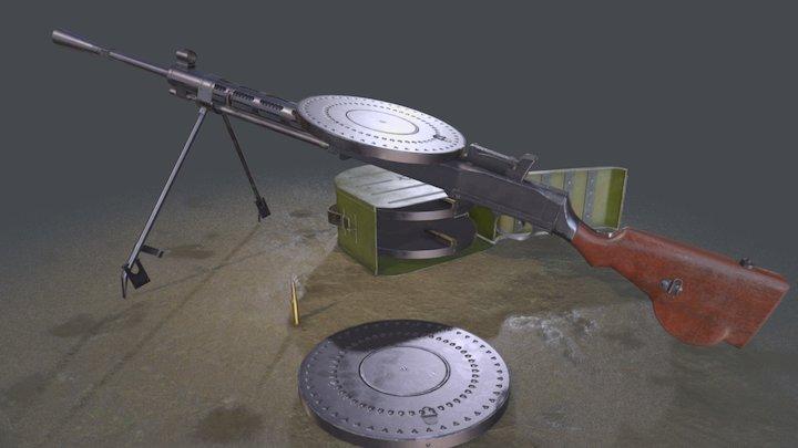 Degtyarev's machine gun infantry 3D Model