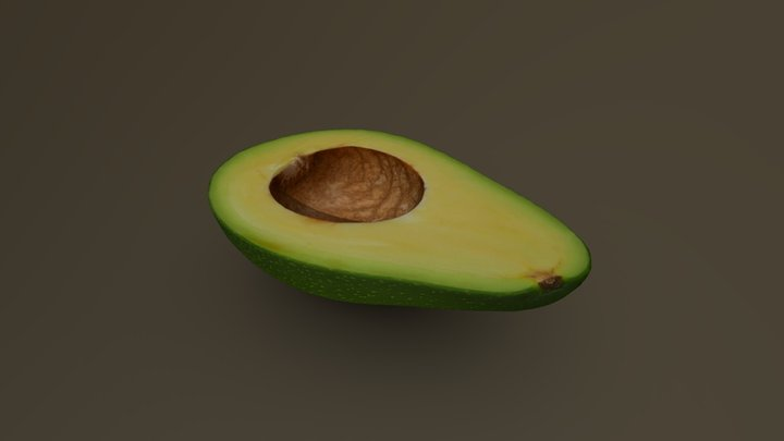 Half Green Avocado without the Pit 09 3D Model