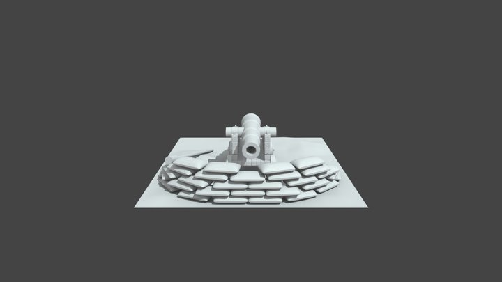Cannon enviroment High Poly 3D Model