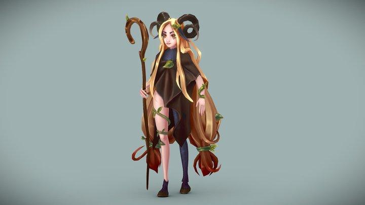 Favn girl - Handpainted lowpoly character 3D Model