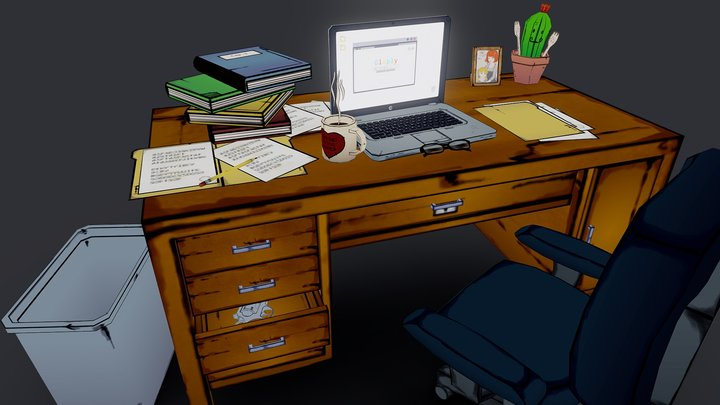 Dad's Desk (WIP) 3D Model