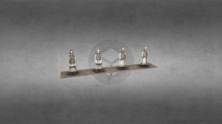 Statues of Mandarins at the Tomb of Tu Duc 3D Model