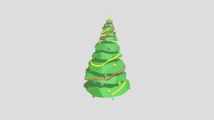 Low Poly Decorated Christmas Tree 3D Model