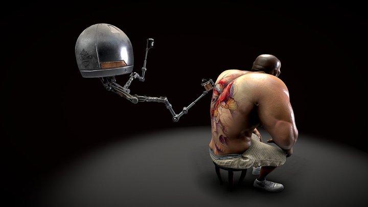 Tatoo Machine jake parker Escene 3D Model