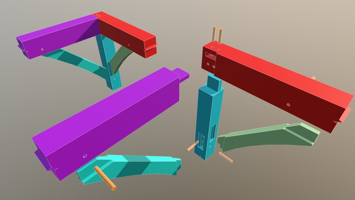 Mortise and Tenon Corner Joint 3D Model