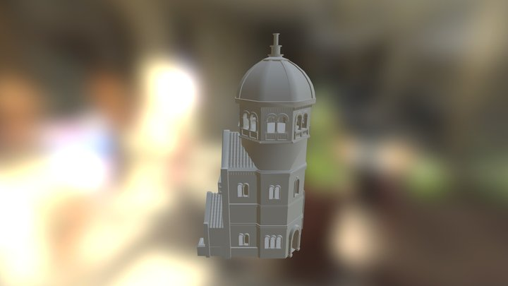 Romanesque Tall Building High Poly 3D Model