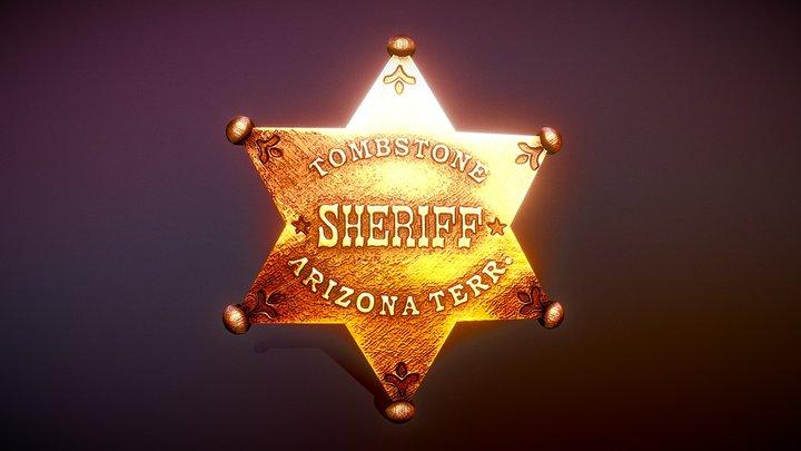 Tombstone Sheriff Badge 3D Model