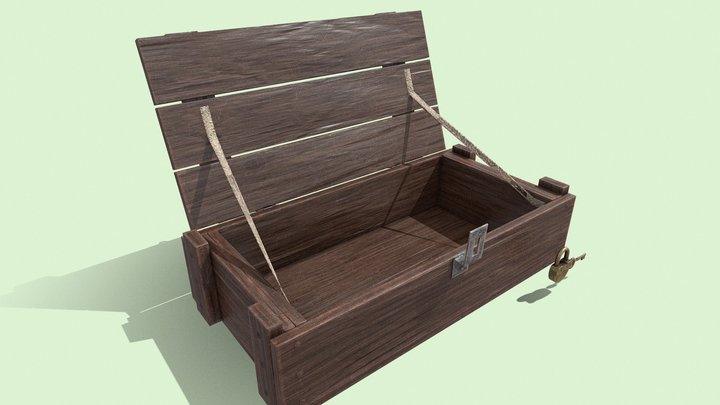 Dirty wooden crate 3D Model
