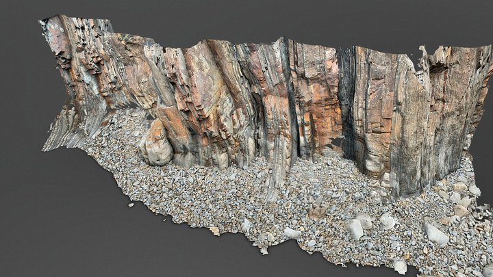 Cliff base near Bude Cornwall 3D Model