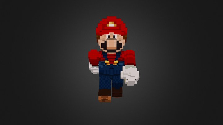 3d Mario Minecraft Styled 3D Model