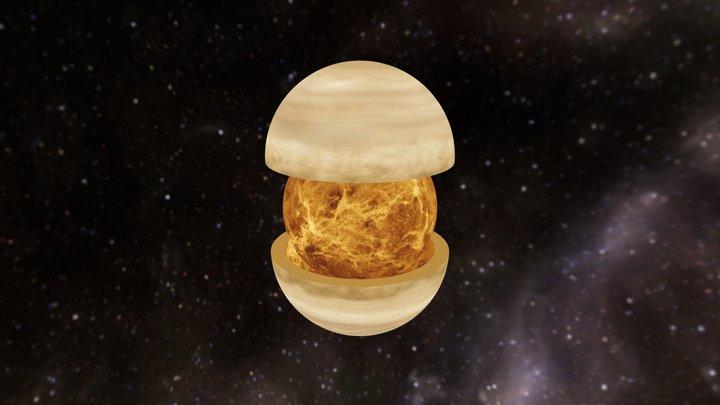 Venus with Atmos 3D Model