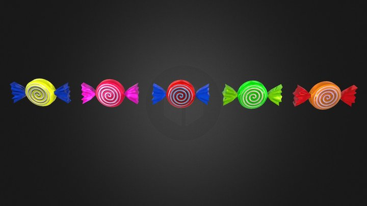 Low-Poly Spiral Candies Pack 3D Model