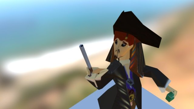 Low Poly Jack Sparrow 3D Model