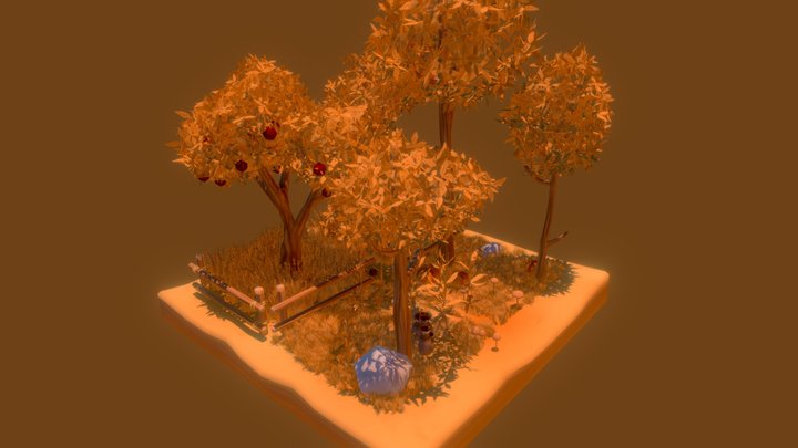 Autumn Tree and Grass Set 3D Model