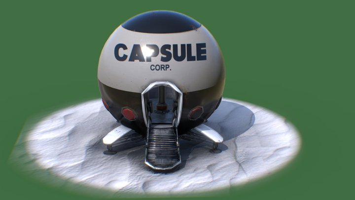 Capsule Corporation Spaceship - Low Poly - Free 3D Model