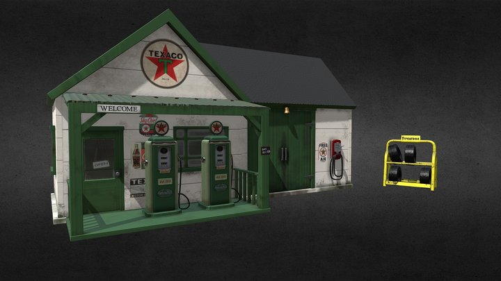 Finished Gas Station Diorama 3D Model