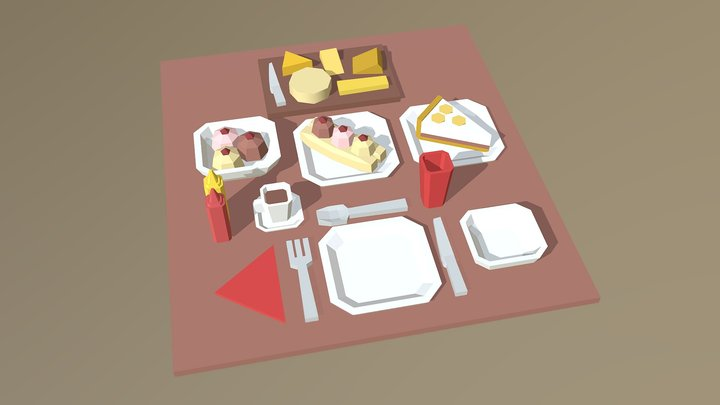 A Selection of Desserts 3D Model