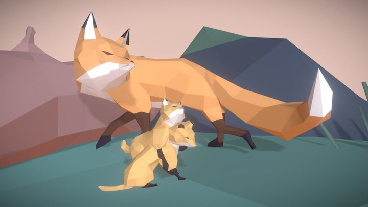 Foxes in Forest 3D Model