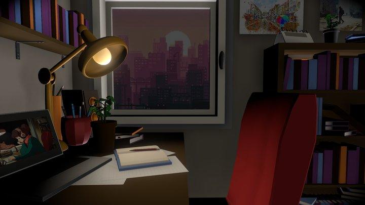 Lo-Fi Study Girl Room - #StudyGirlChallenge 3D Model