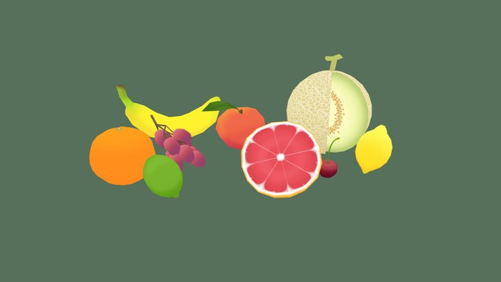 Low Poly Fruits 3D Model